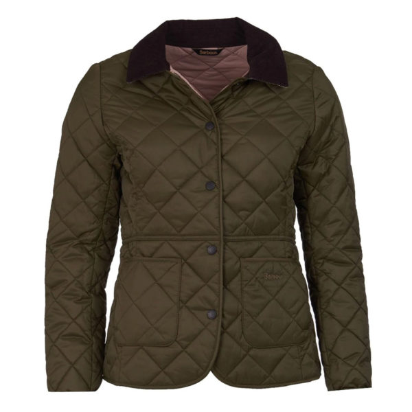 Barbour Womens Deveron Quilted Jacket Olive Pale Pink