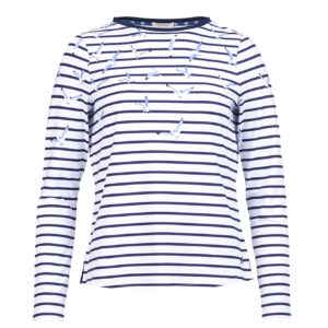 Barbour Womens Faeroe Stripe Print Top White Navy