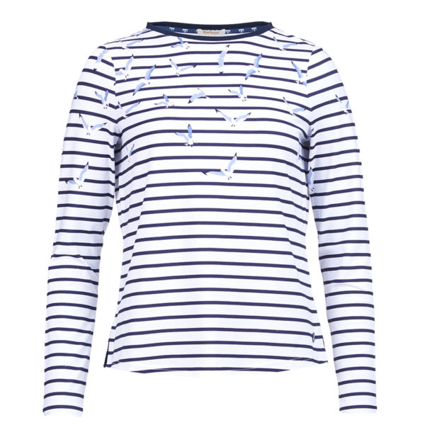 Barbour Womens Faeroe Stripe Print Top White Navy