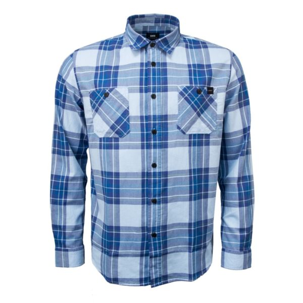 Edwin Labour Shirt Light Herringbone Flannel Cool Blue