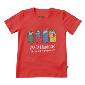 Fjallraven Kids Sleeping Foxes T-Shirt Red