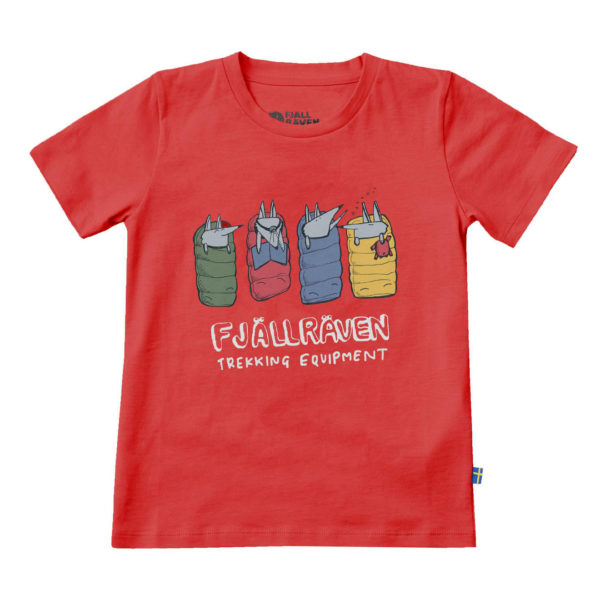 Fjallraven Kids Sleeping Foxes T-Shirt Red