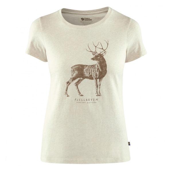 Fjallraven Womens Deer Print T-Shirt Limestone