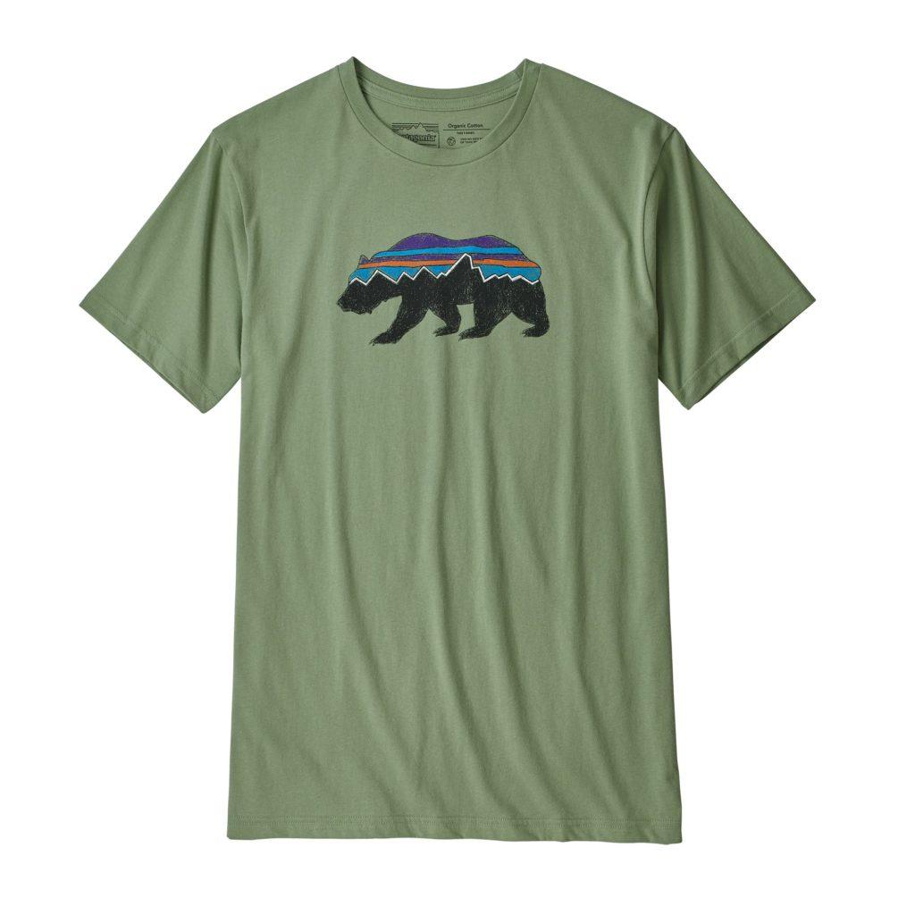 Patagonia Fitz Roy Bear Organic Cotton T-Shirt Matcha Green