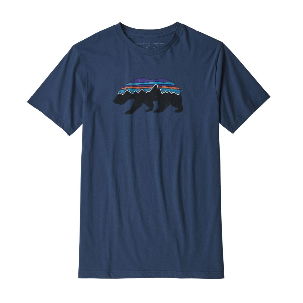 Patagonia Fitz Roy Bear Organic Cotton T-Shirt Stone Blue