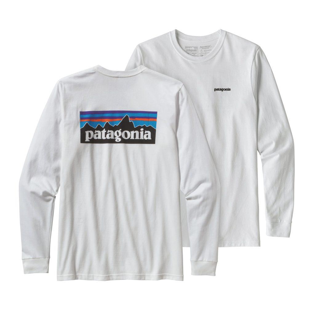 Patagonia Long Sleeve P-6 Logo Responsibili-Tee White