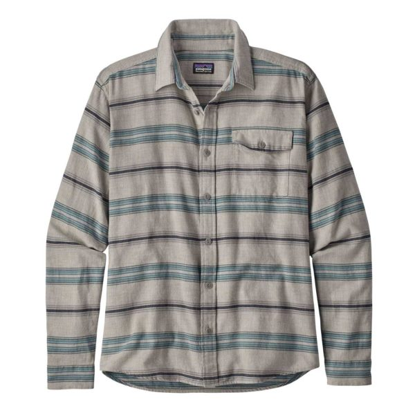 Patagonia Long Sleeved Lightweight Fjord Flannel Shirt Tarkine Stripe Drifter Grey