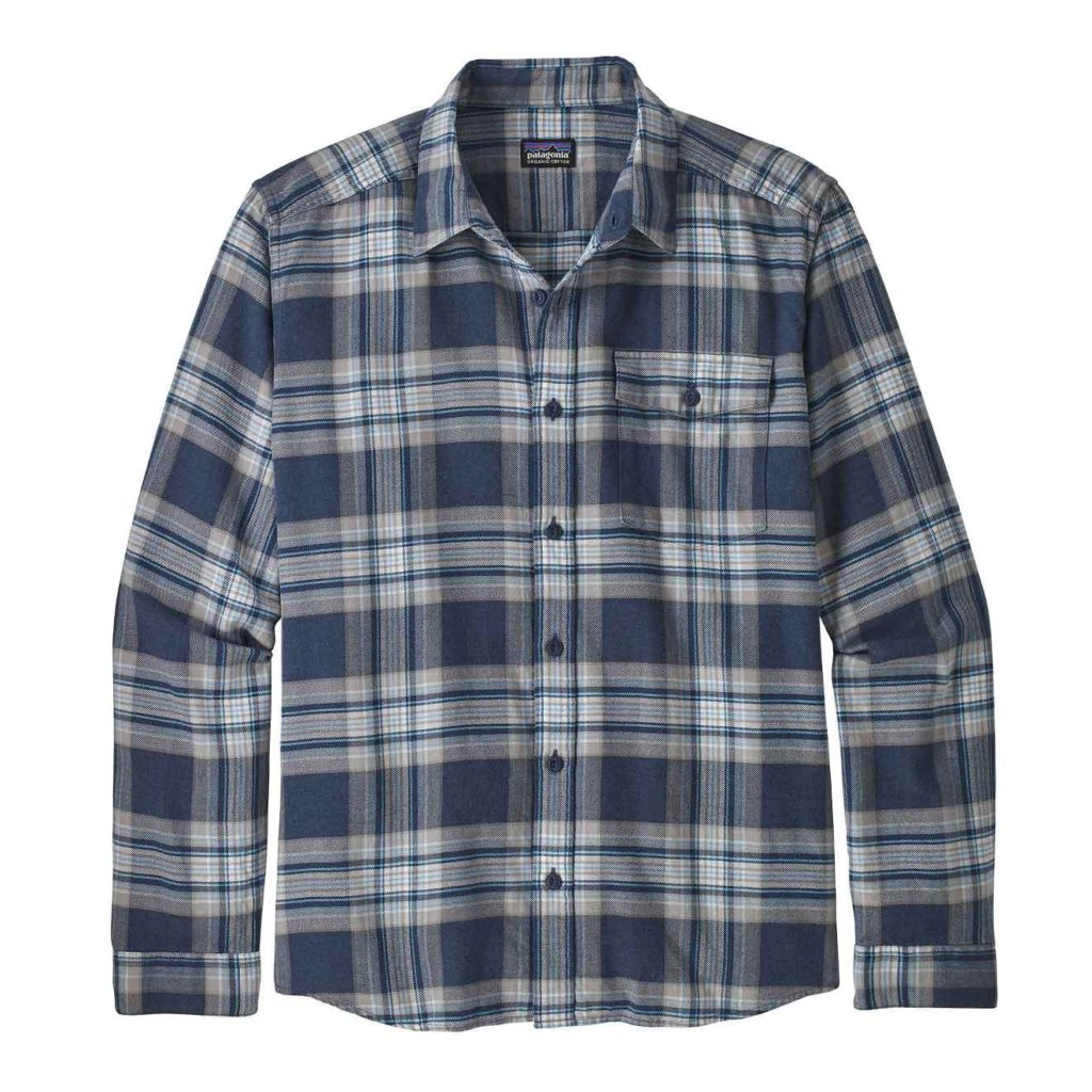 Patagonia Long Sleeved Lightweight Fjord Flannel Shirt Whyte Stone Blue