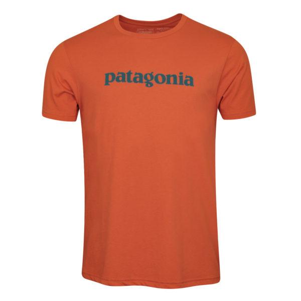 Patagonia Text Logo Organic Cotton T-Shirt Sunset Orange