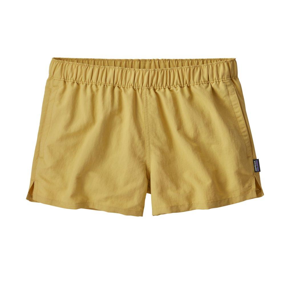 "Patagonia Womens Barely Baggies Shorts 2.5"" Surfboard Yellow"