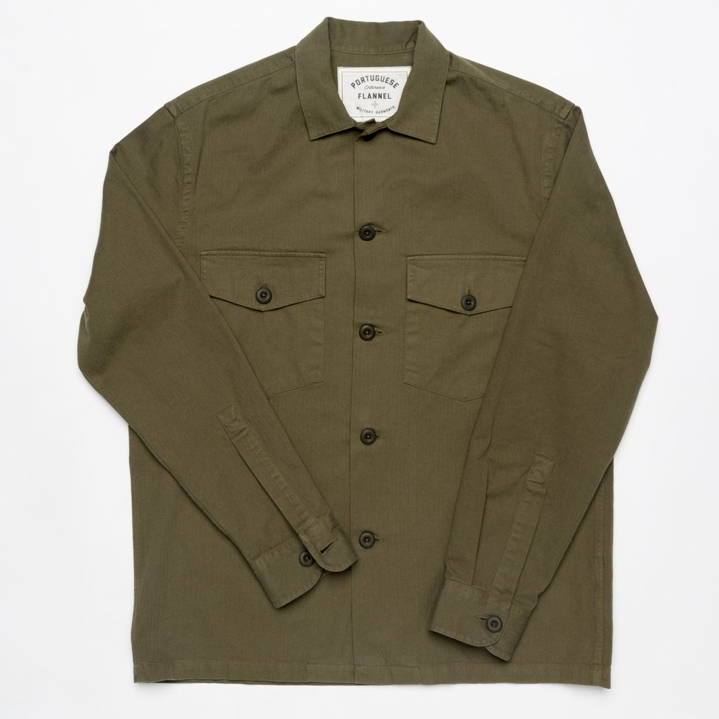 Portuguese Flannel Army Overshirt Green