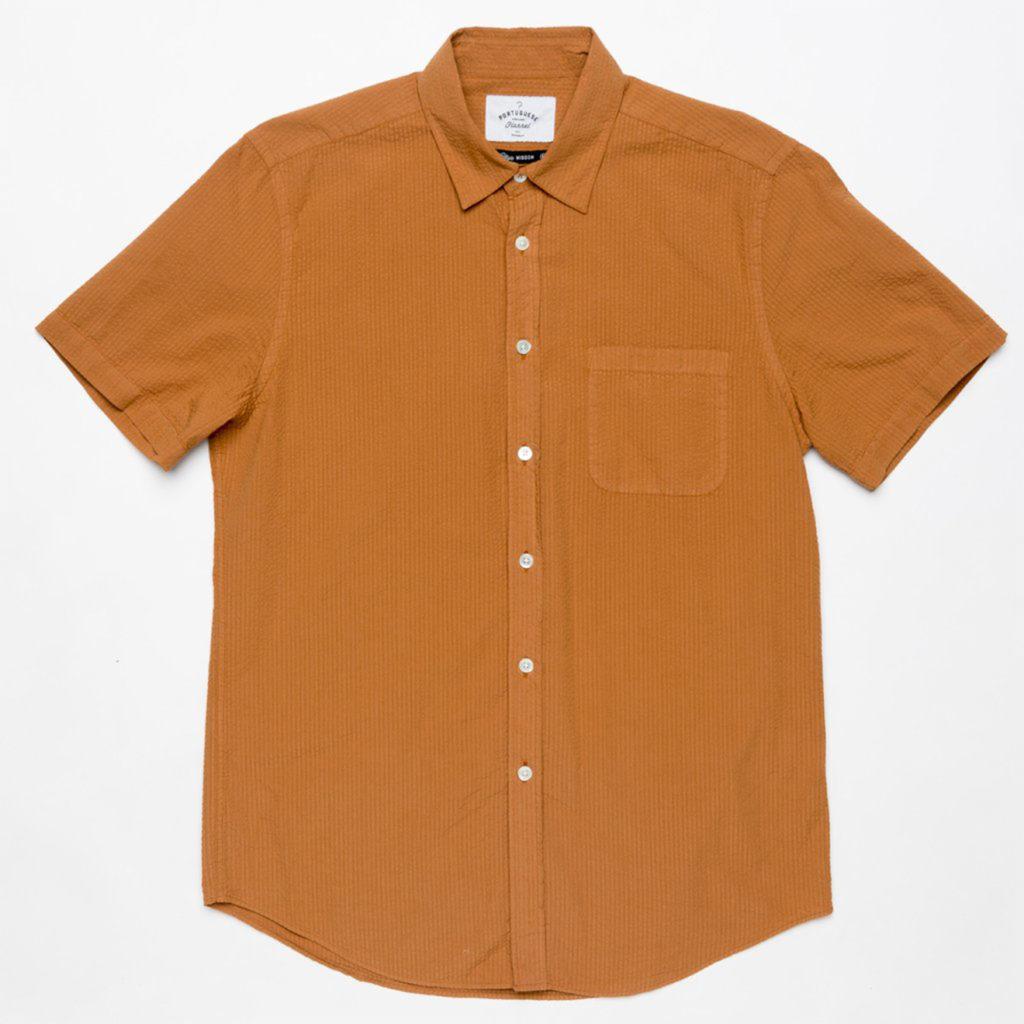 Portuguese Flannel Atlantico Pastable Seersucker Shirt Pastel Brick