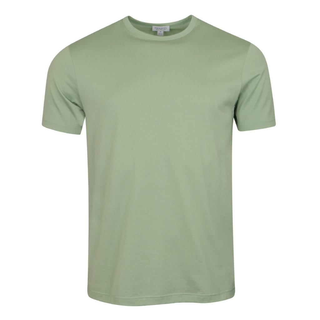 Sunspel Classic Crew T-Shirt Aqua Leaf