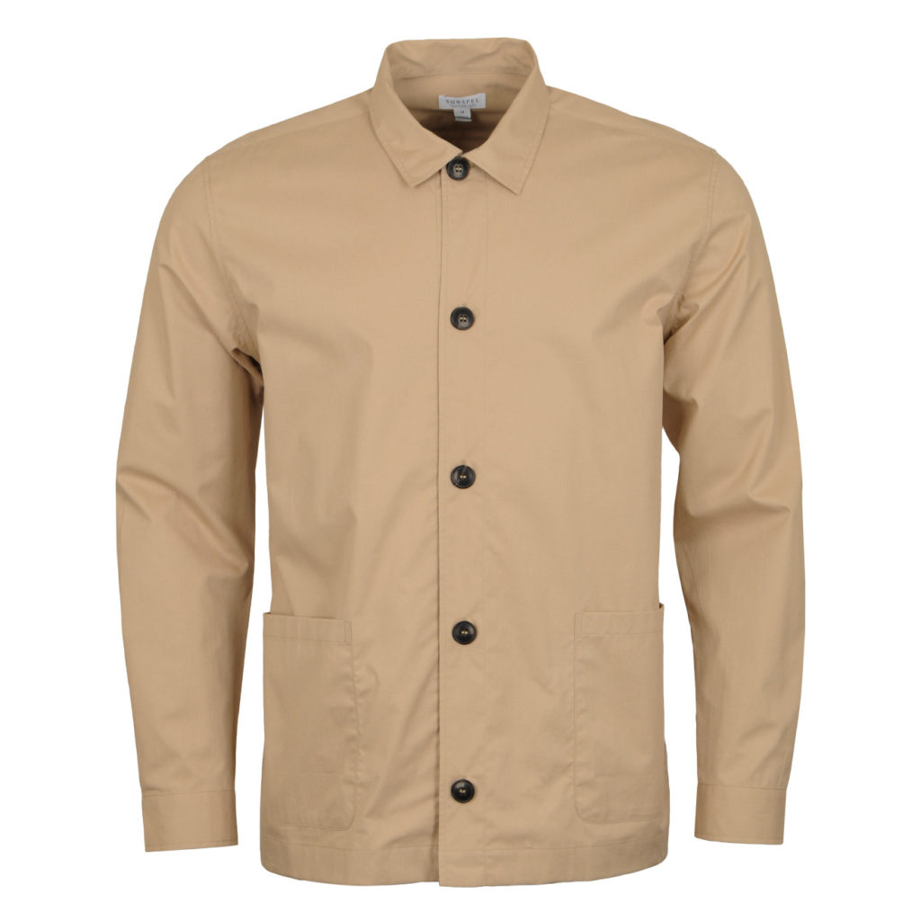 Sunspel Long Sleeve Shirt Jacket Stone 4