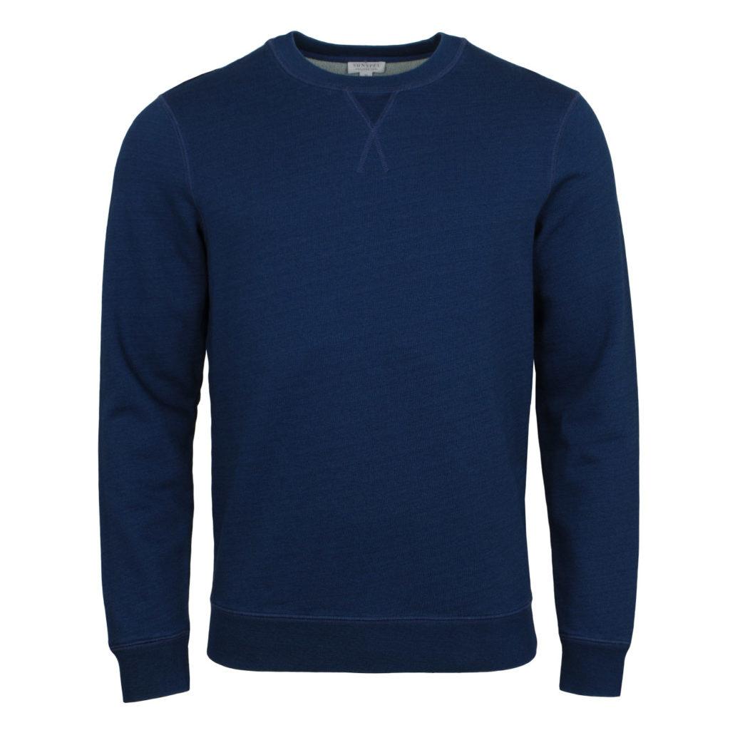 Sunspel Loopback Sweatshirt Real Indigo
