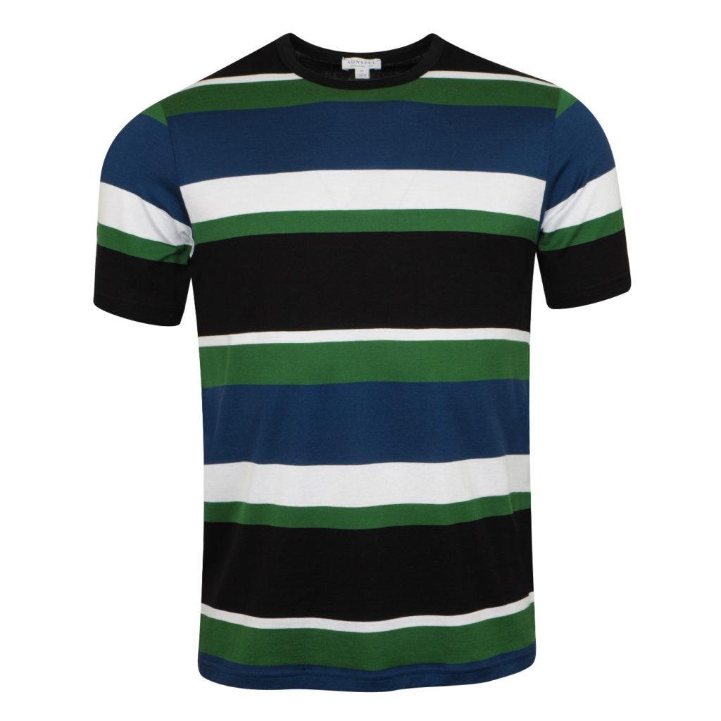 Sunspel Striped Classic T-Shirt Dark Indigo Chlorophilia Green