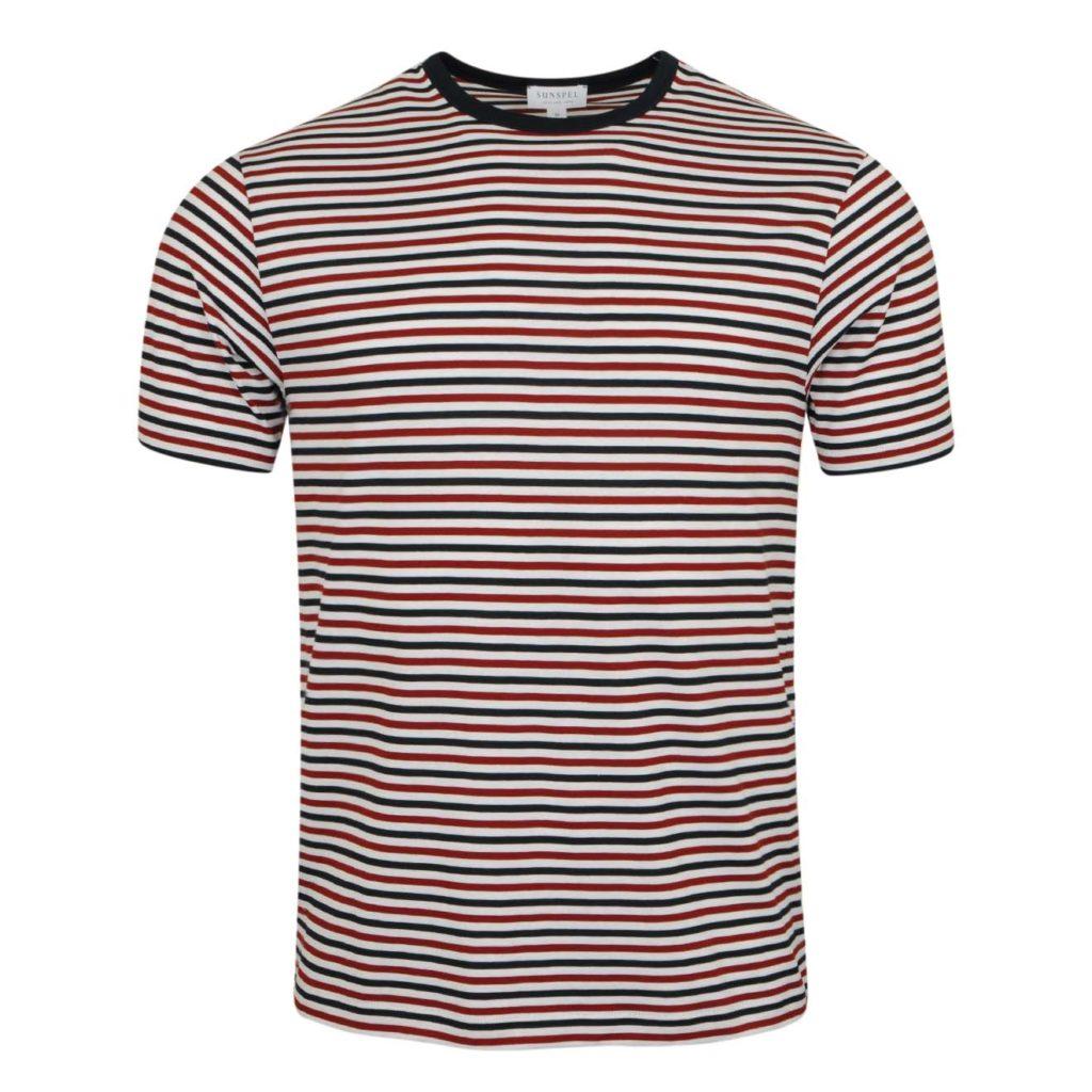 Sunspel Striped Crew Neck T-Shirt Madder/Navy/White