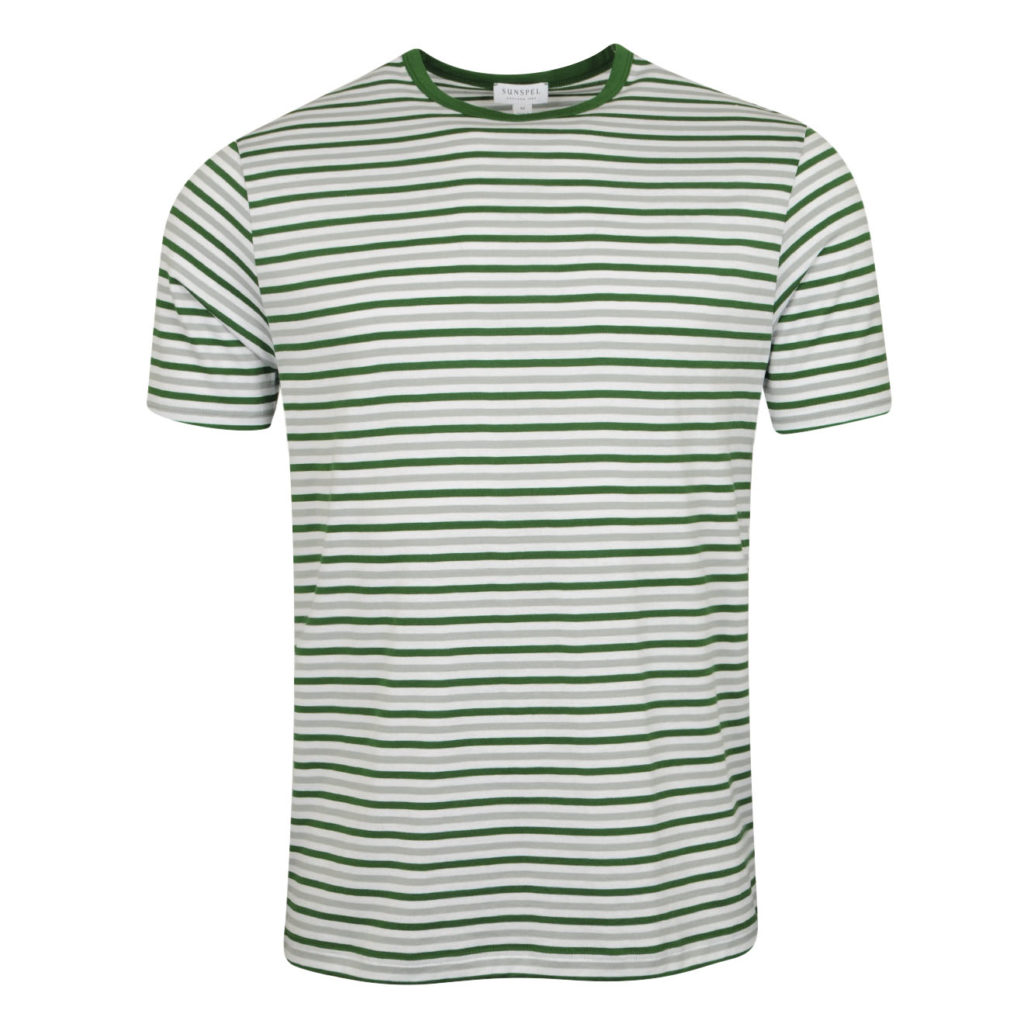 Sunspel Striped Crew neck T-Shirt Chlorophilia Green Light Indigo