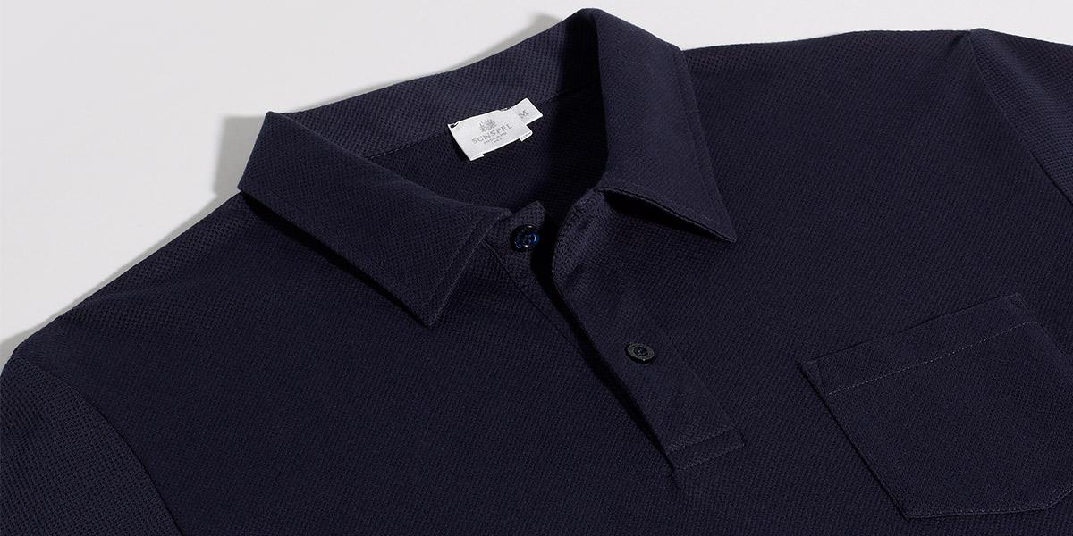 Sunspel Riviera Polo Shirt Navy