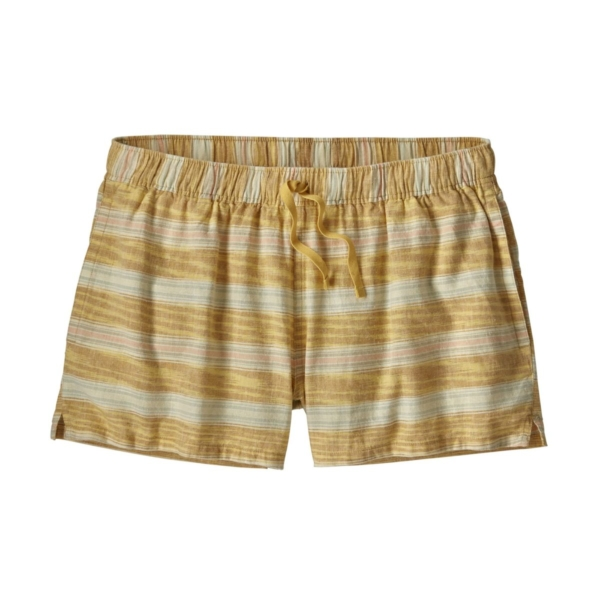 "Patagonia Womens Island Hemp Baggies Shorts 3"" Tarkine Stripe Small : Surfboard Yellow"