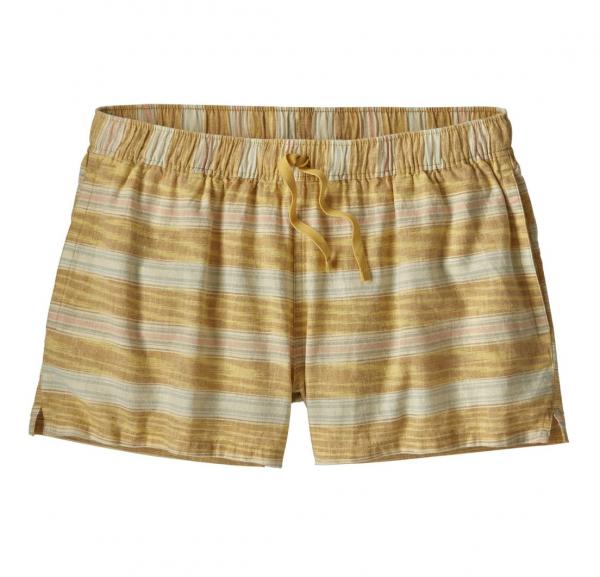 "Patagonia Womens Island Hemp Baggies Shorts 3"" Tarkine Stripe Small : Surfboard Yellow"