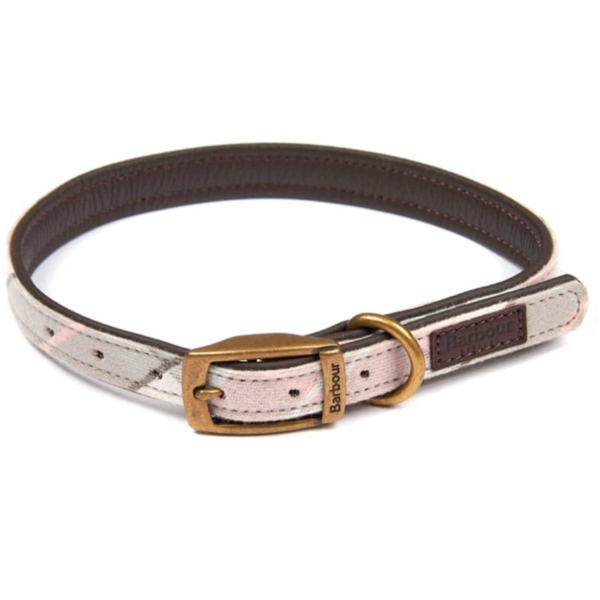 Barbour Dog Collar Pink / Grey Tartan