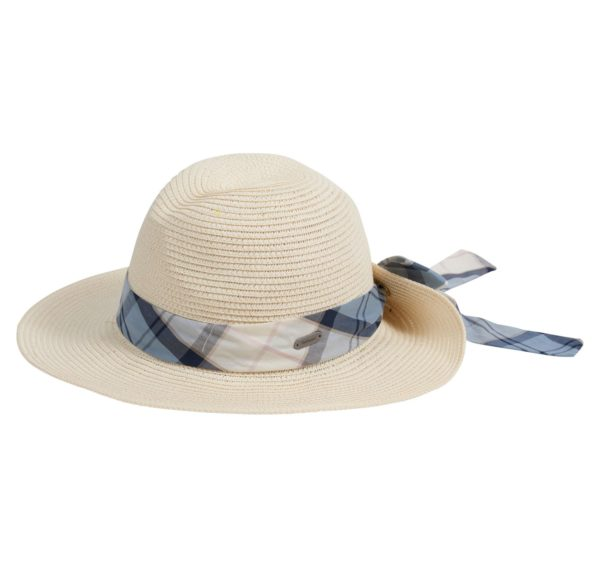 Barbour Womens Lorne Tartan Trimmed Fedora Hat Natural