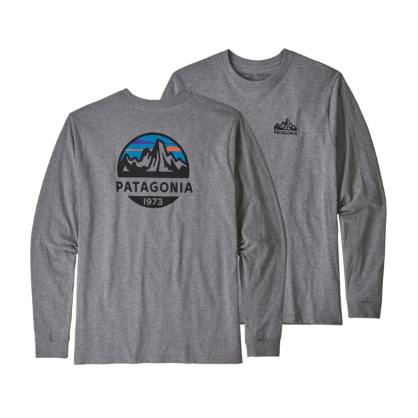 Patagonia Long Sleeve Fitz Roy Scope Responsibili-Tee Gravel Heather