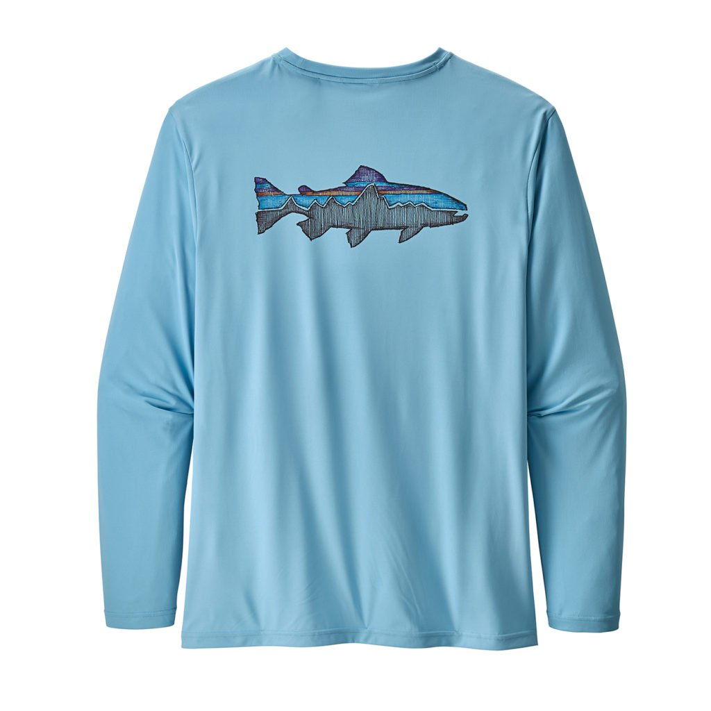Patagonia Long-Sleeved Capilene Cool Daily Fish Graphic Shirt Sketched Fitz Roy Trout Break Up Blue