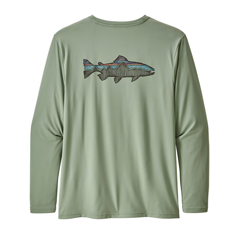 Patagonia Long-Sleeved Capilene Cool Daily Fish Graphic Shirt Sketched Fitz Roy Trout Celadon