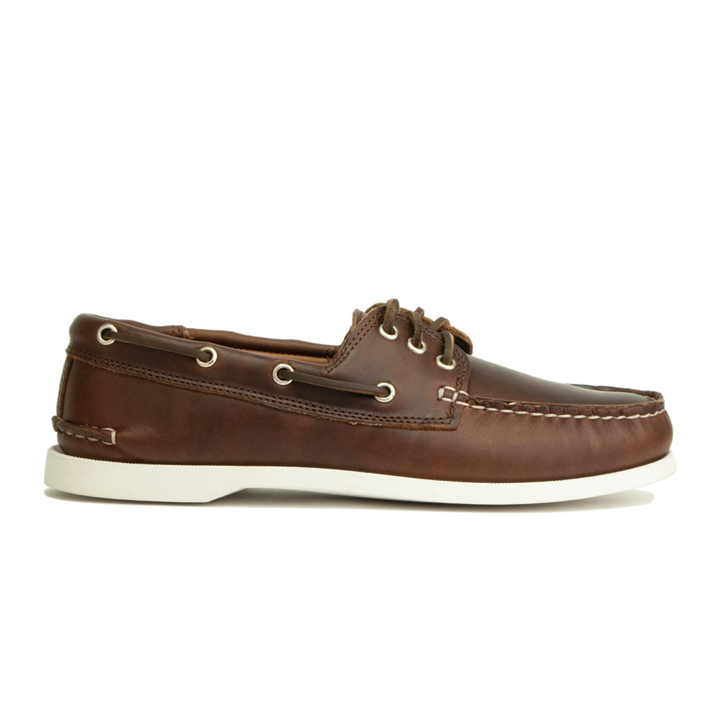 Quoddy Downeast Boat Shoe Brown / White Sole