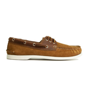 Quoddy Downeast Boat Shoe Toast Suede / White Sole