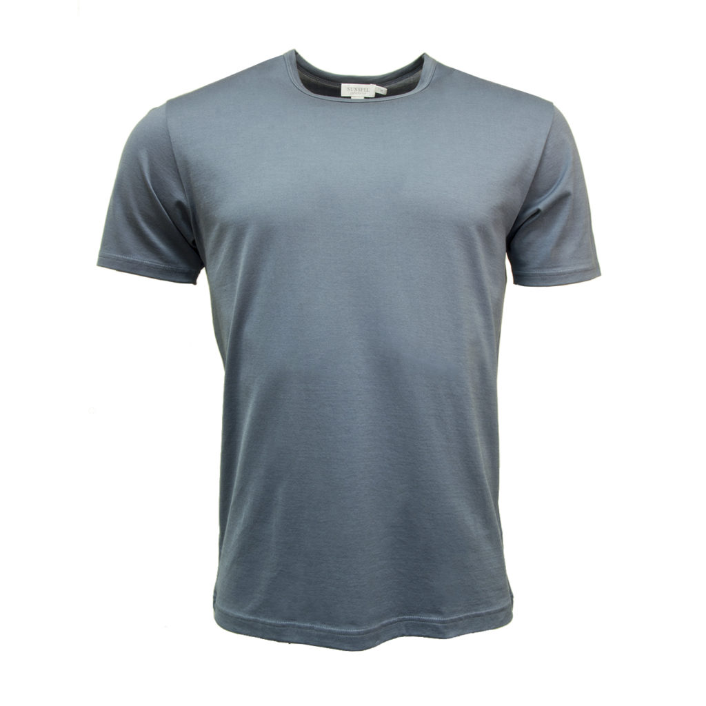 Sunspel Classic Crew T-Shirt Blue Slate