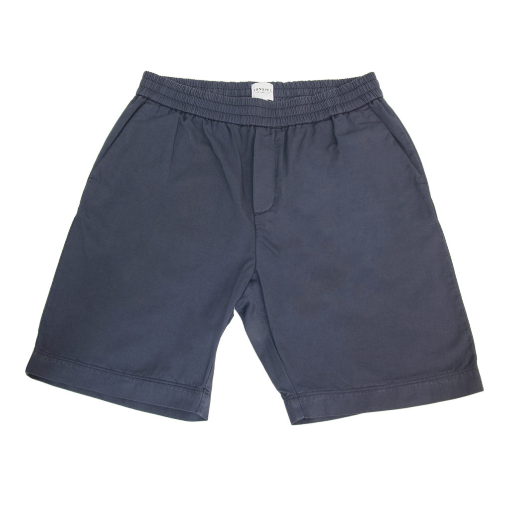 Sunspel Drawstring Shorts Blue Slate