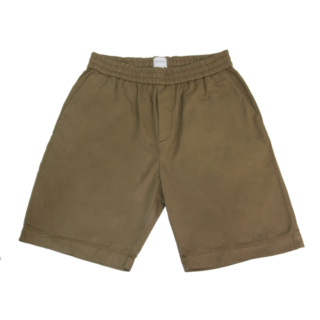 Sunspel Drawstring Shorts Dark Stone