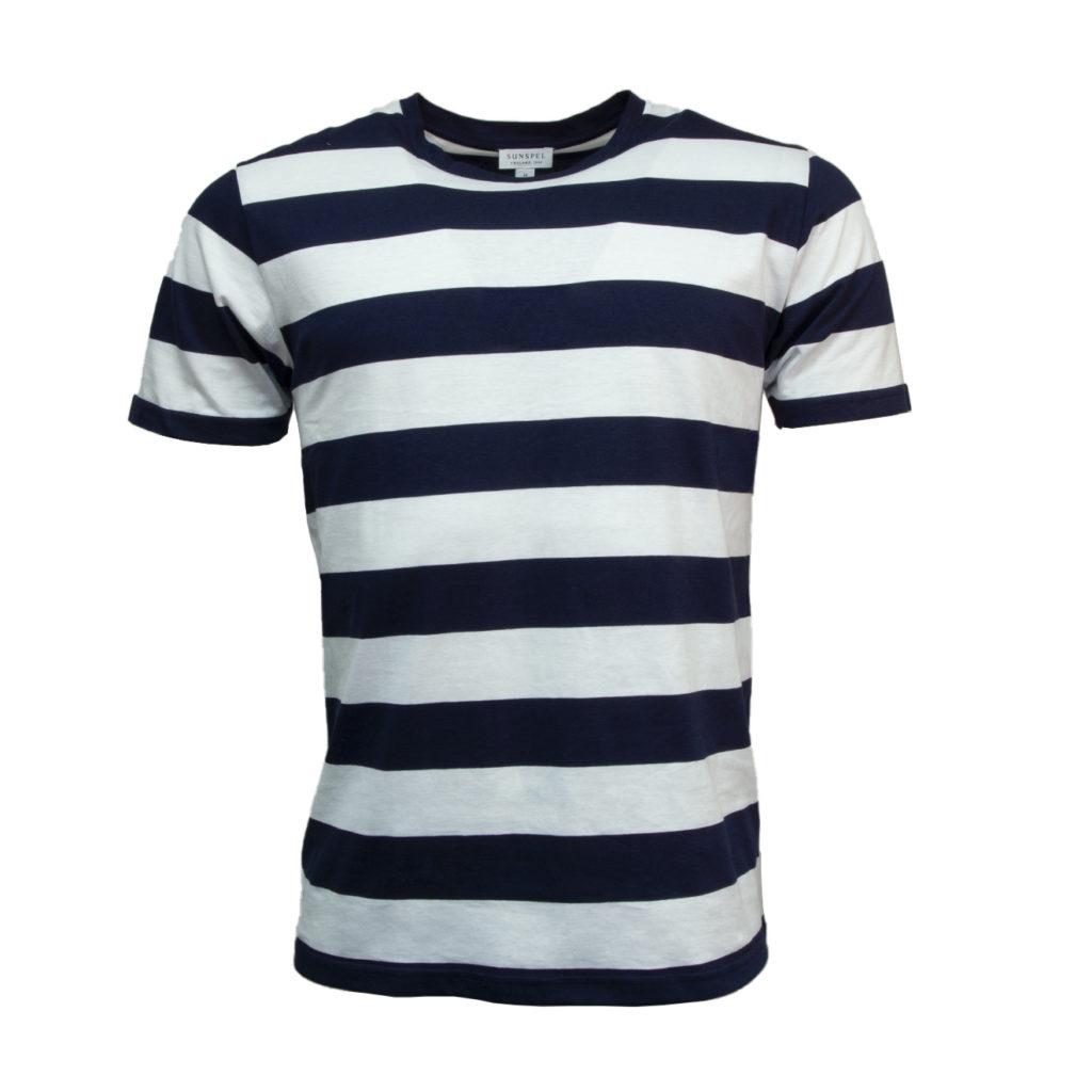 Sunspel Riviera Crew T-Shirt Navy / White