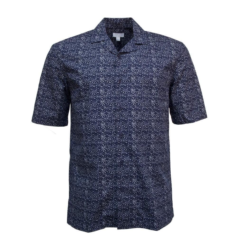 Sunspel SS Shirt Shibori Stars Navy Print