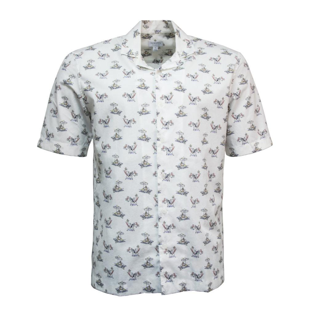 Sunspel Shirt Sorimachi Cross-Word Man Print