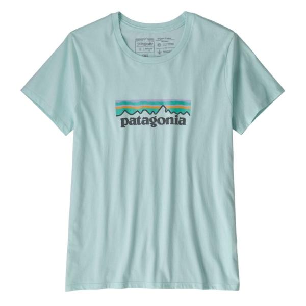 Patagonia Womens Pastel P-6 Logo Organic Crew T-Shirt Atoll Blue