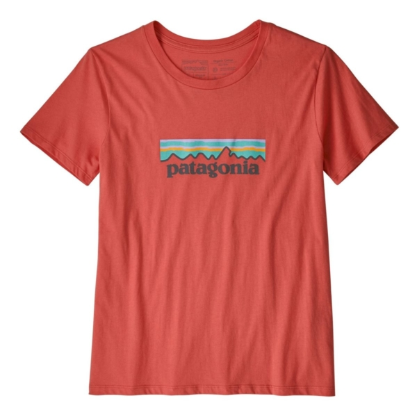 Patagonia Womens Pastel P-6 Logo Organic Crew T-Shirt Spiced Coral