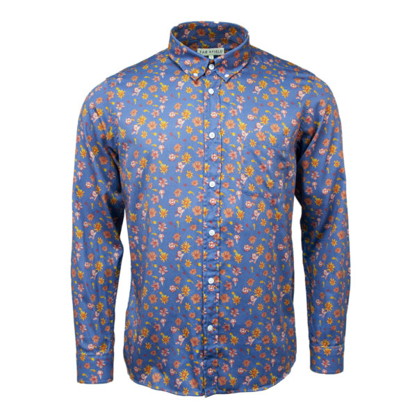Far Afield Mod Button Down Shirt Navarro Floral / Blue