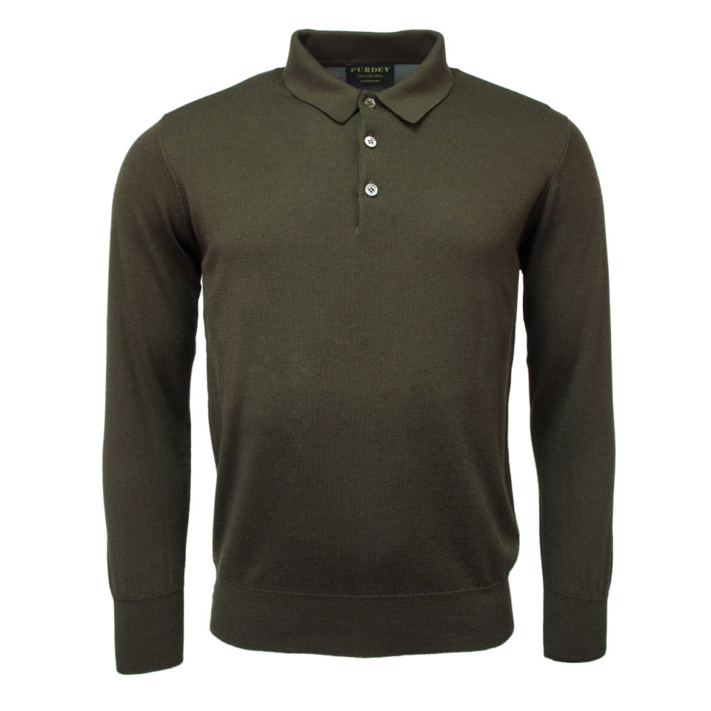 f68021d2 James Purdey Superfine Merino Long Sleeve Polo Forest Green
