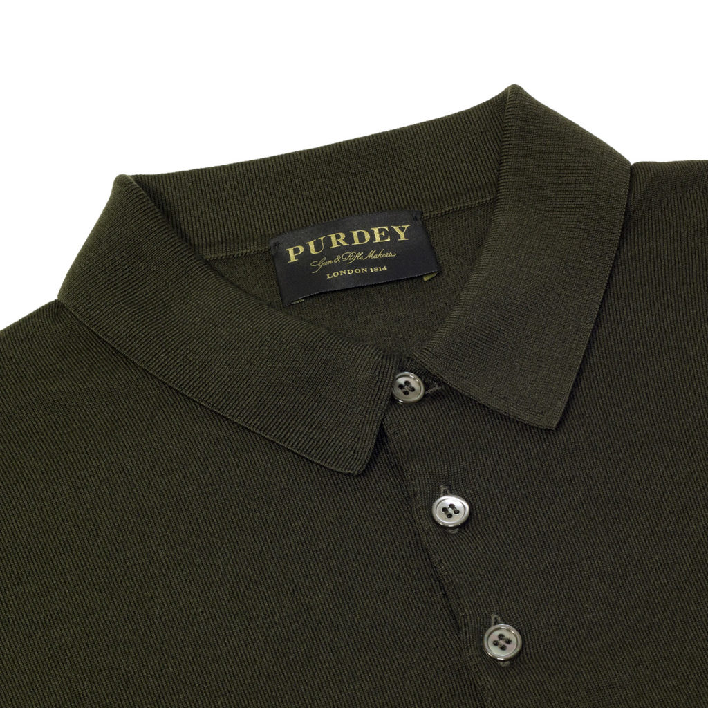 James Purdey Superfine Merino Long Sleeve Polo Forest Green
