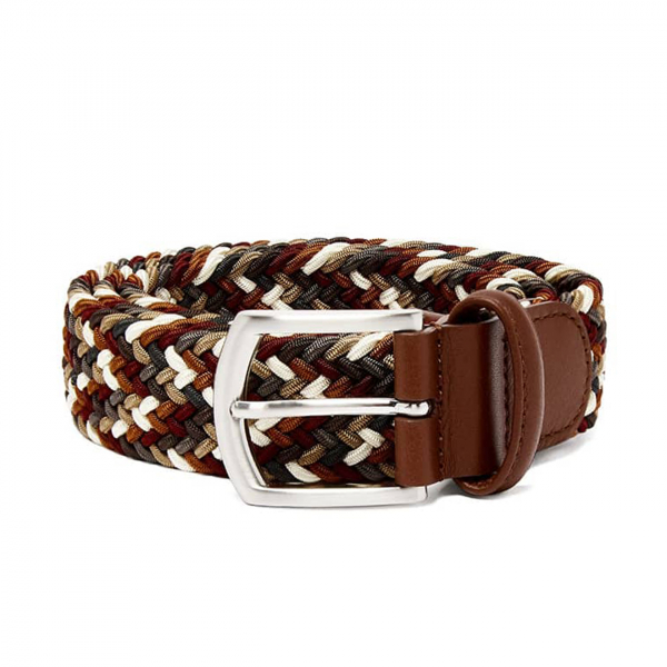 Andersons Woven Textile Belt Burgundy, Rust and Cream
