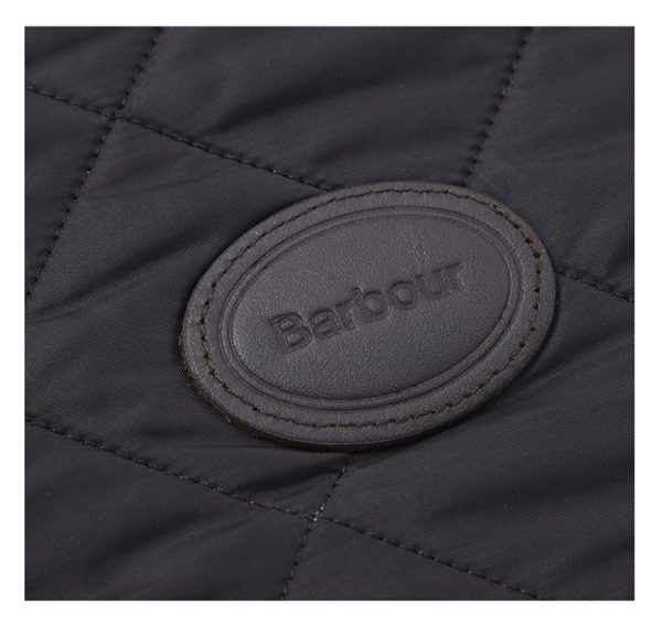Barbour Leather Logo Badge Stitched on Barbour Quilted Dog Coat