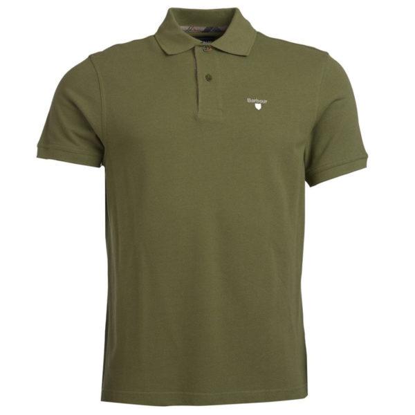 Barbour Tartan Cotton Pique Polo Shirt Burnt Olive