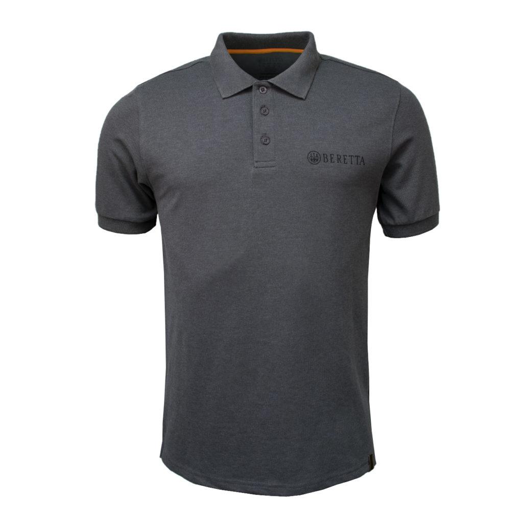 Beretta Corporate Striped Polo Grey Melange