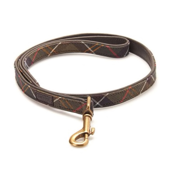 Barbour Leather Dog Lead Classic Tartan