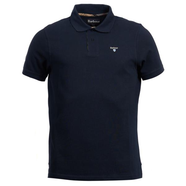 Barbour Tartan Cotton Pique Polo Shirt New Navy