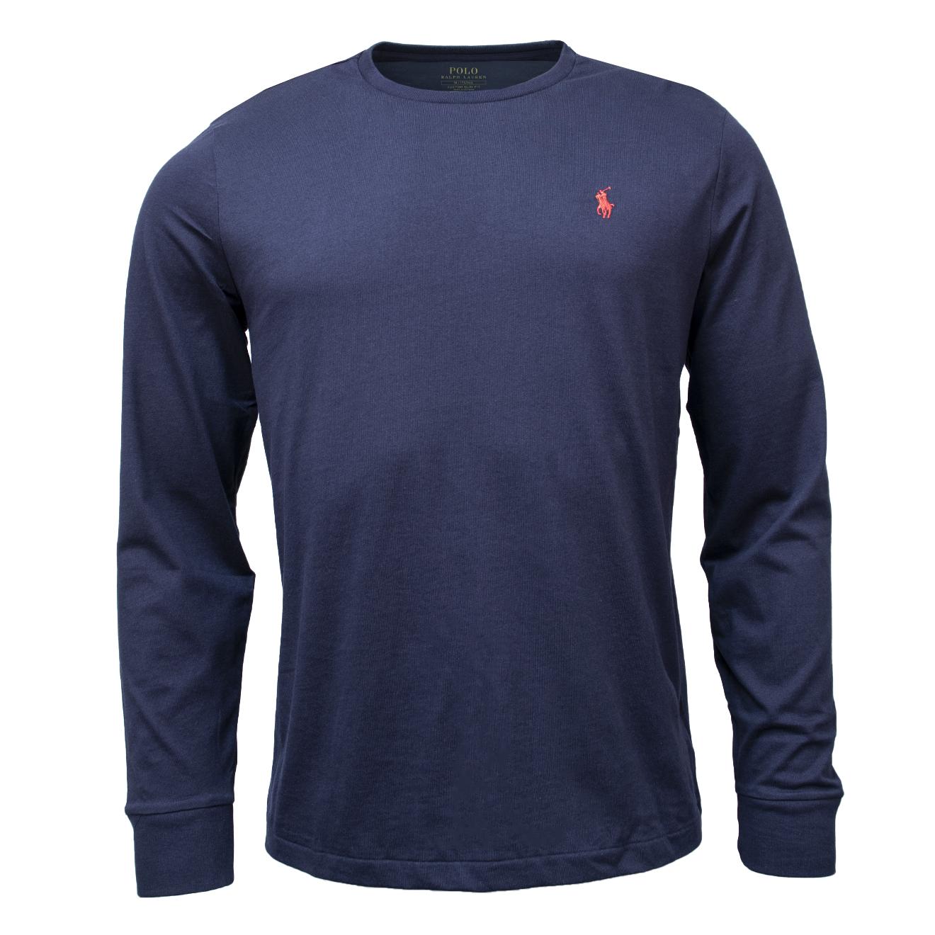 b7fd03be Polo Ralph Lauren Custom Slim Fit Cotton LS T-Shirt Polo Ink Navy ...